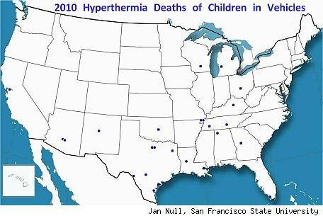 Child deaths in vehicles from heat stroke.