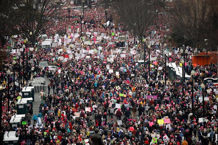 <p>People pack the streets near the National Mall for the start of the Women's March in Washington, January 21, 2017. (REUTERS/Jonathan Ernst) </p>