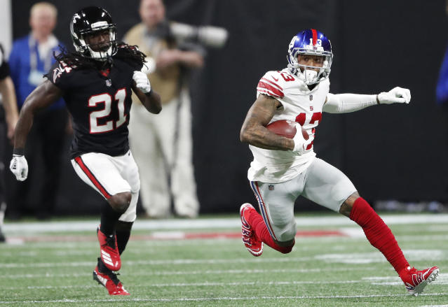 A neutered Giants offense hasn't stopped Odell Beckham from racing into the NFL record book. (AP)
