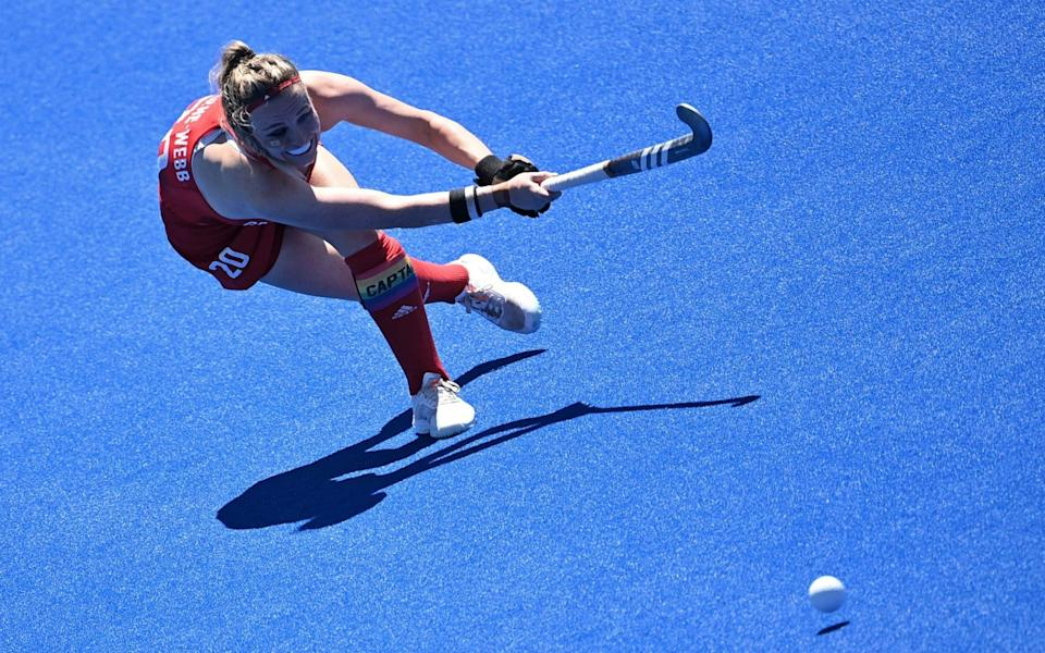 GB captain Hollie Pearne-Webb strikes the ball during the first quarter - AFP