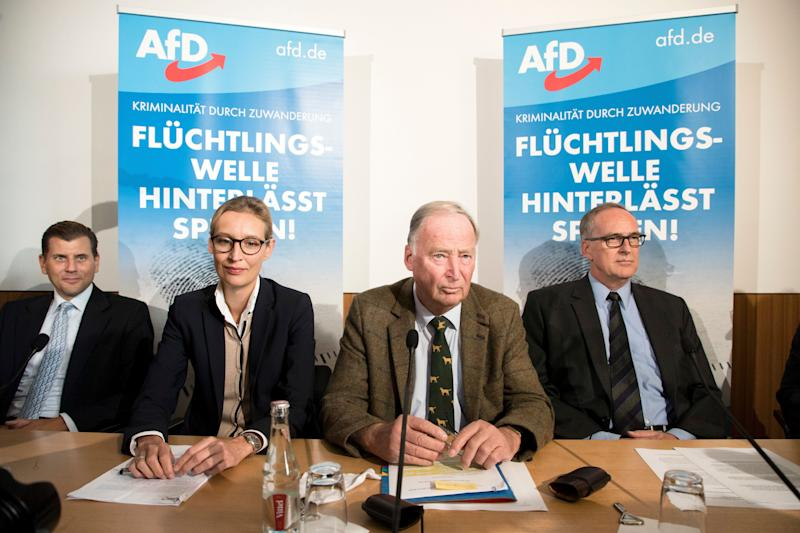 The AfD's main candidates for the federal elections, Alice Weidel (center left) and Alexander Gauland (center right).