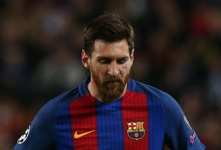 Football Soccer - FC Barcelona v Juventus - UEFA Champions League Quarter Final Second Leg - The Nou Camp, Barcelona, Spain - 19/4/17 Barcelona's Lionel Messi looks dejected Reuters / Albert Gea Livepic