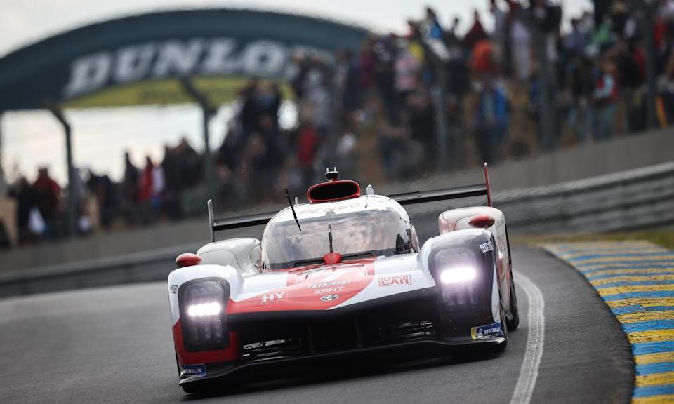 Toyota's GR010 Hybrid driven by Mike Conway in front of 50,000 spectators