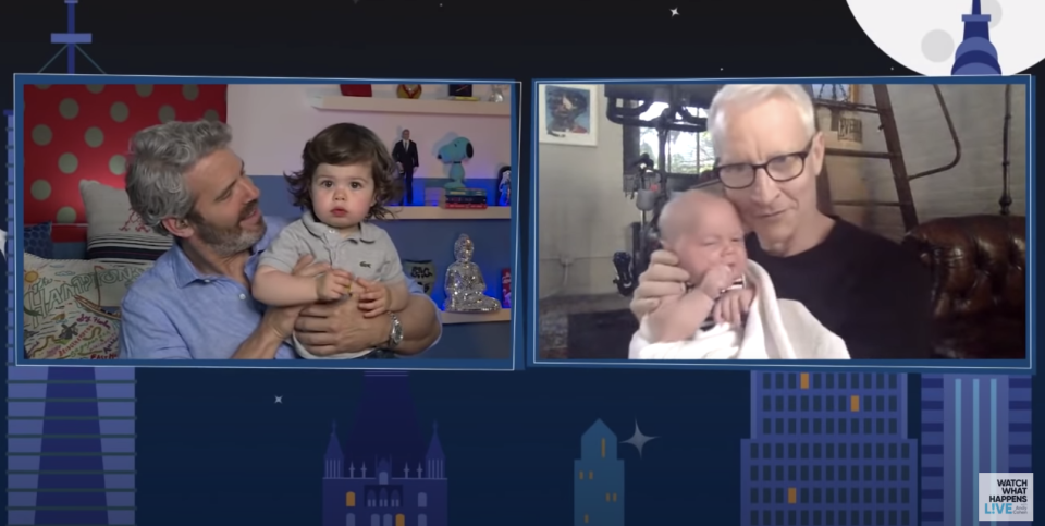 Andy Cohen's son meets Anderson Cooper's baby boy for the first time. (Photo: Watch What Happens Live)