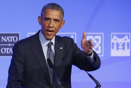 U.S. President Barack Obama speaks at a news conference on the second and final day of the NATO summit at the Celtic Manor resort, near Newport