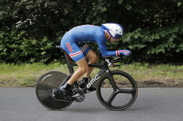 Taylor Phinney, of the United States competes in the men's individual time trial cycling event at the 2012 Summer Olympics, Wednesday, Aug. 1, 2012, in London. (AP Photo/Christophe Ena, Pool)