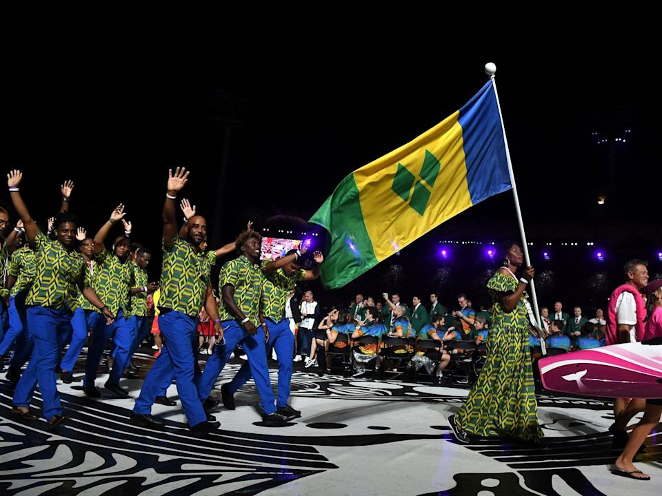 Athletes from Saint Vincent and the Grenadines make their entrance at the Summer Olympics.