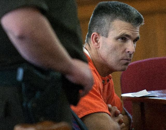 Former major league baseball player Chad Curtis appears in court for his sentencing on Thursday, Oct. 3, 2013, in Hastings, Mich. Curtis was sentenced Thursday to seven to 15 years in prison for inappropriately touching teenage girls. (AP Photo/The Grand Rapids Press- MLive.com, Chris Clark)