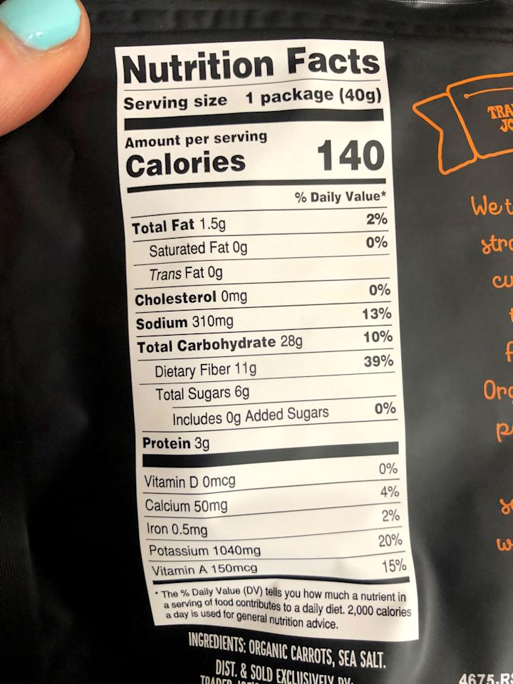 <p>Look at that list of ingredients: it's just carrots and sea salt! If you bought potato chips, they'd be fried in oil, which adds tons of calories and fat.</p> <p>Speaking of, a whole bag of these dried carrots (which is about one and a half cups) is just 140 calories. There's 1.5 grams of fat, no saturated fat or cholesterol, and 310 milligrams of sodium. It does have 28 grams of carbs but also offers a whopping 11 grams of fiber - that's half the recommended daily amount! And who knew carrots offered protein? This bag has three grams. </p> <p>That's not all: you'll also get four percent of your daily calcium, two percent of your daily iron, 20 percent of your daily potassium, and 15 percent of your daily vitamin A (because . . . carrots). This snack is pretty darn healthy!</p>
