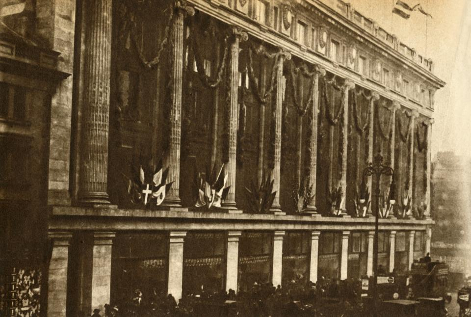 The Opening of Selfridge's', 1909, (1933). View of Selfridge's department store in Oxford Street, London. The shop, founded by Harry Gordon Selfridge and designed by Daniel Burnham of Chicago, opened in March 1909. From