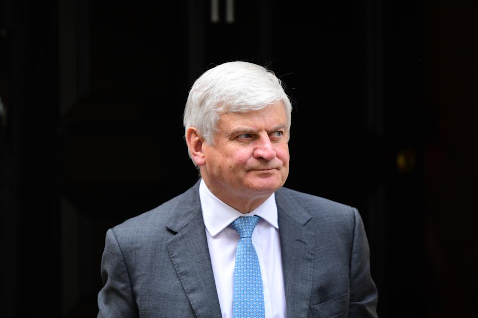 LONDON, ENGLAND - SEPTEMBER 02: Chairman of Aviva, Sir Adrian Montague leaves after a meeting at 11 Downing Street on September 2, 2019 in London, England. Chancellor of the Exchequer Sajid Javid has invited business leaders to discuss the opportunities and challenges of a no-deal Brexit. (Photo by Leon Neal/Getty Images)
