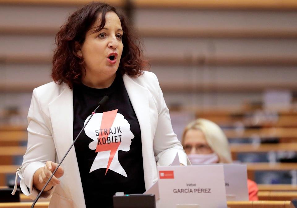 Spanish Members of Parliament Iratxe Garcia Perez speaks during a debate on Abortion rights in Poland during a plenary session at the European Parliament in Brussels on November 25, 2020. (Photo by Olivier HOSLET / POOL / AFP) (Photo by OLIVIER HOSLET/POOL/AFP via Getty Images) (Photo: OLIVIER HOSLET via Getty Images)