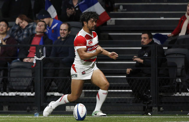 Japan's Shota Horie celebrates after scoring a try during the rugby union international match between France and Japan, at the U Arena, in Nanterre, west of Paris, Saturday, Nov. 25, 2017. (AP Photo/Thibault Camus)