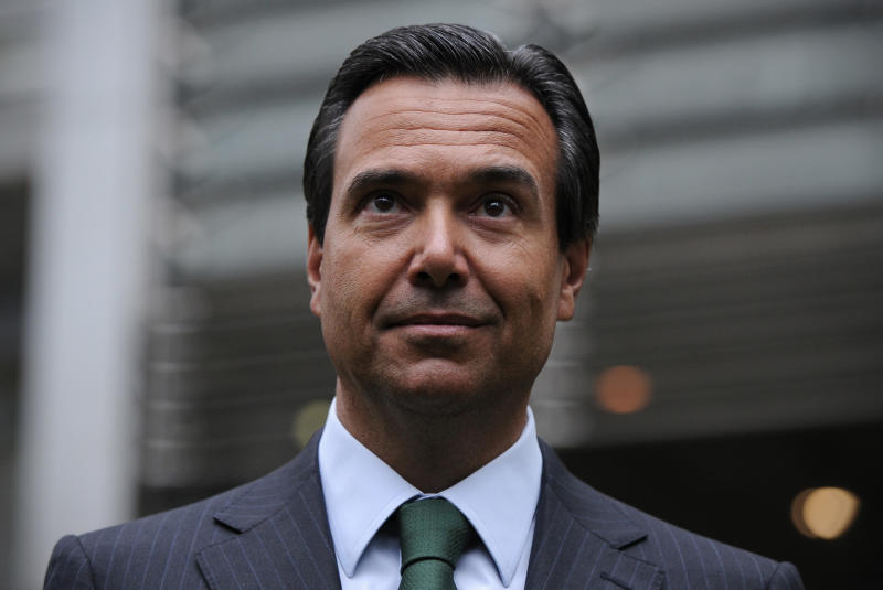 Lloyds Banking Group's chief executive Antonio Horta-Osorio poses for photographers outside the Lloyds Banking Group headquarters in central London, on January 9, 2012, on his first day back at work after a prolonged period of absence due to fatigue. AFP PHOTO/CARL COURT (Photo by CARL COURT / AFP) (Photo by CARL COURT/AFP via Getty Images)