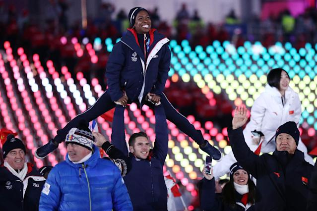 <p>Figure skaters Vanessa James and Morgan Cipres of France participate during the Parade of Athletes during the Closing Ceremony of the PyeongChang 2018 Winter Olympic Games at PyeongChang Olympic Stadium on February 25, 2018 in Pyeongchang-gun, South Korea. (Photo by Maddie Meyer/Getty Images) </p>