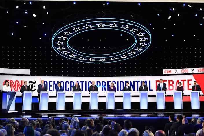 Democrats debate at Otterbein University in Westerville, Ohio, on Oct. 15. (Photo: Saul Loeb/AFP via Getty Images)