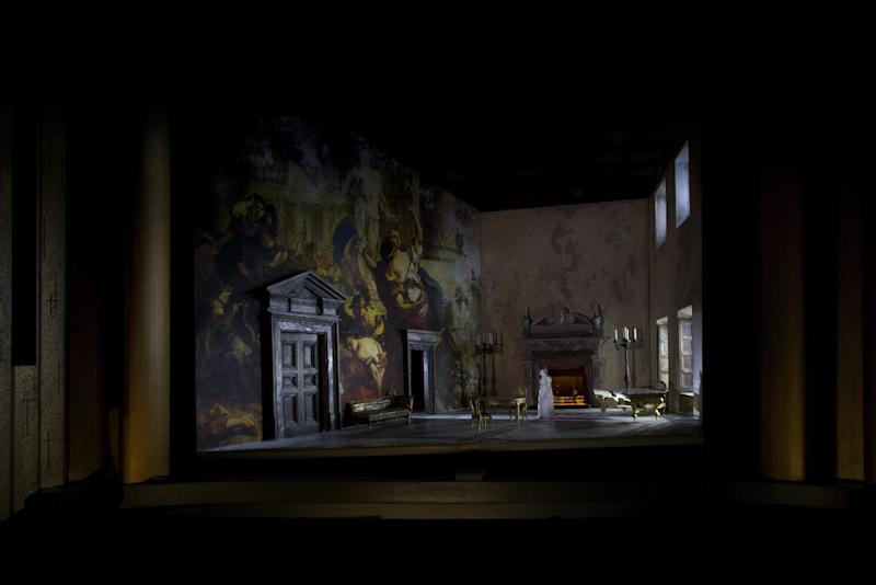 """This artist rendering released by Metropolitan Opera shows a set model for Act I of David McVicar's new production of """"Tosca,"""" designed by John Macfarlane. The Metropolitan Opera is scrapping Luc Bondy's maligned production of Puccini's """"Tosca"""" after just 59 performances. The Met said Wednesday, Feb. 15, 2017, a new staging by McVicar will open New Year's Eve, one of five new productions next season. (Metropolitan Opera via AP)"""