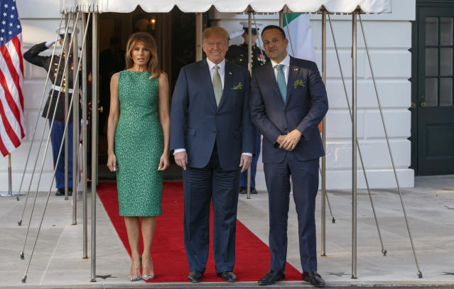 <p>To mark St Patrick's Day, the First Lady celebrated in a vivid green Brandon Maxwell dress. On the holiday, the presidential couple welcomed Ireland's prime minister Leo Varadkar. <em>[Photo: Getty]</em> </p>