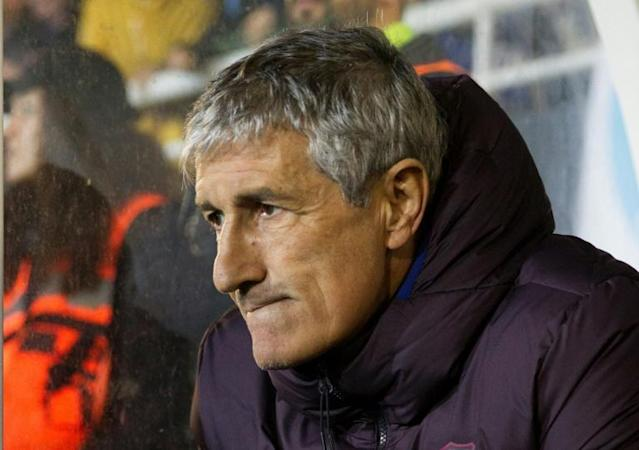 Quique Setien has overseen two tight victories in his first two games as Barcelona coach. (AFP Photo/JAIME REINA)