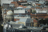The New Synagogue, the Centrum Judicum is seen from the TV tower in Berlin , Germany, Thursday, Sept. 10, 2020. As Jews around the world gather Sunday night to mark the beginning of Yom Kippur, many in Germany remain uneasy about going together to their houses of worship to pray, a year after a white-supremacist targeted a synagogue in the eastern city of Halle on the holiest day in Judaism. (AP Photo/Markus Schreiber)