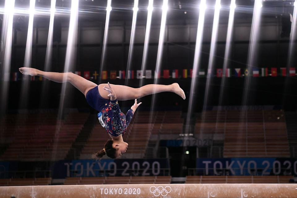 <p>Suni is the first Hmong-American to ever qualify for the Olympics. Her parents emigrated to the United States from Laos. (Photo by LOIC VENANCE/AFP via Getty Images)</p>
