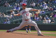 Los Angeles Angels starting pitcher Dylan Bundy throws against the Seattle Mariners during the third inning of a baseball game, Sunday, May 2, 2021, in Seattle. (AP Photo/Ted S. Warren)