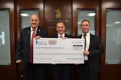 """Robert H. Kurnick, Jr. (M), president of Penske Automotive Group, presents David Zurfluh (L), national president of Paralyzed Veterans of America and Carl Blake (R), executive director of Paralyzed Veterans of America, with a check for $1,063,877 raised through Penske Automotive Group's 2018 """"Service Matters"""" campaign, to benefit Paralyzed Veterans of America."""