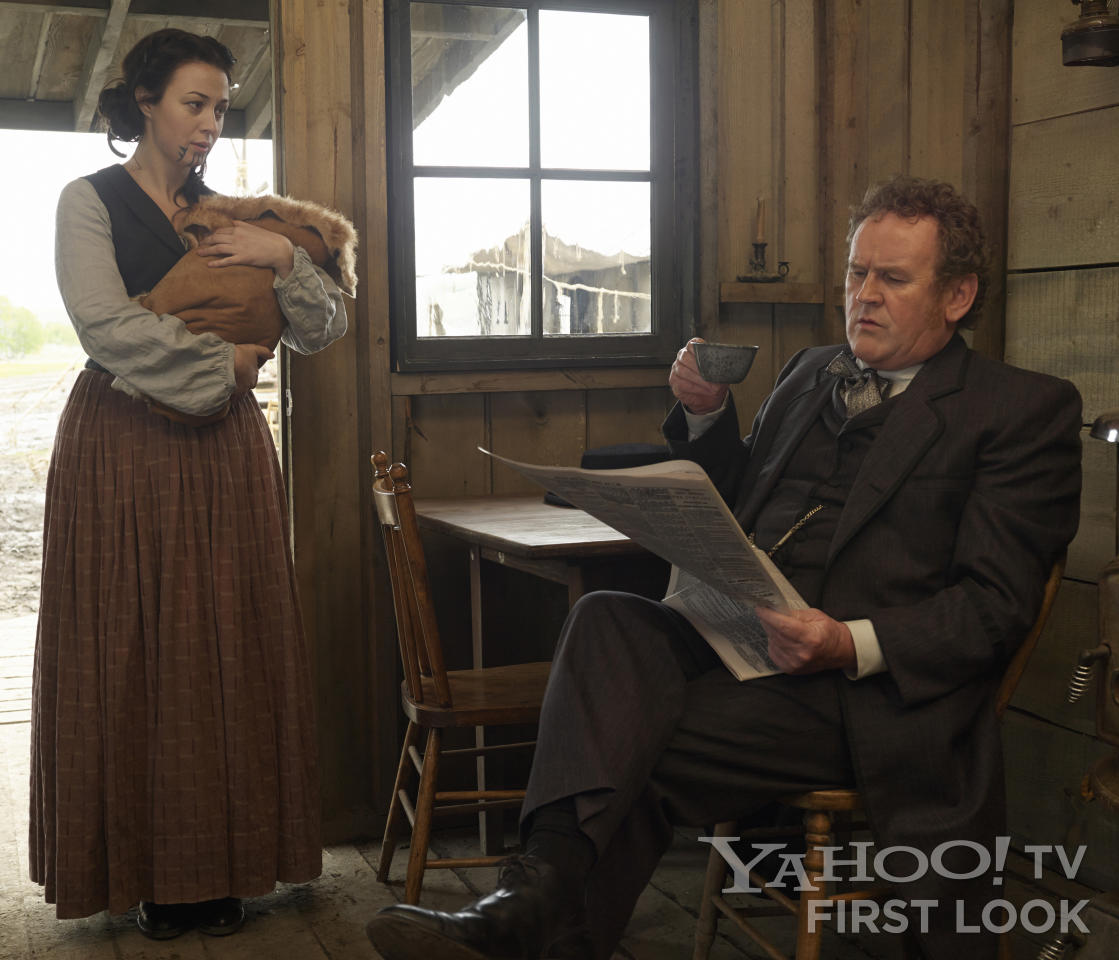 """Eva (Robin McLeavy) and Thomas 'Doc' Durant (Colm Meaney) in AMC's """"Hell on Wheels"""" Season 3."""