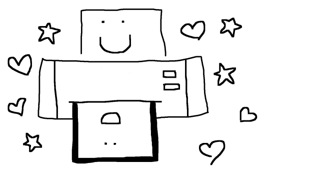 a drawing of a printer with a smiley-face