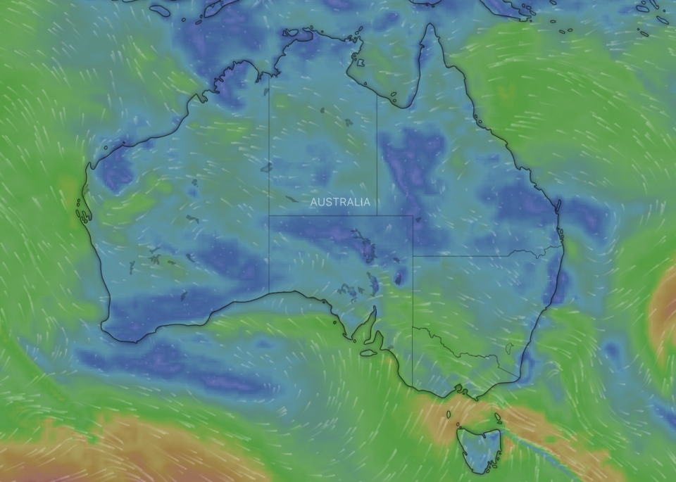 The southern states will see rain, wind and chilly temps with a cold trough moving through on Tuesday afternoon. Source: Windy.com