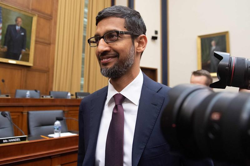 Sundar Pichai arrives to testify during a House Judiciary Committee hearing on Capitol Hill in Washington, DC: AFP/Getty Images