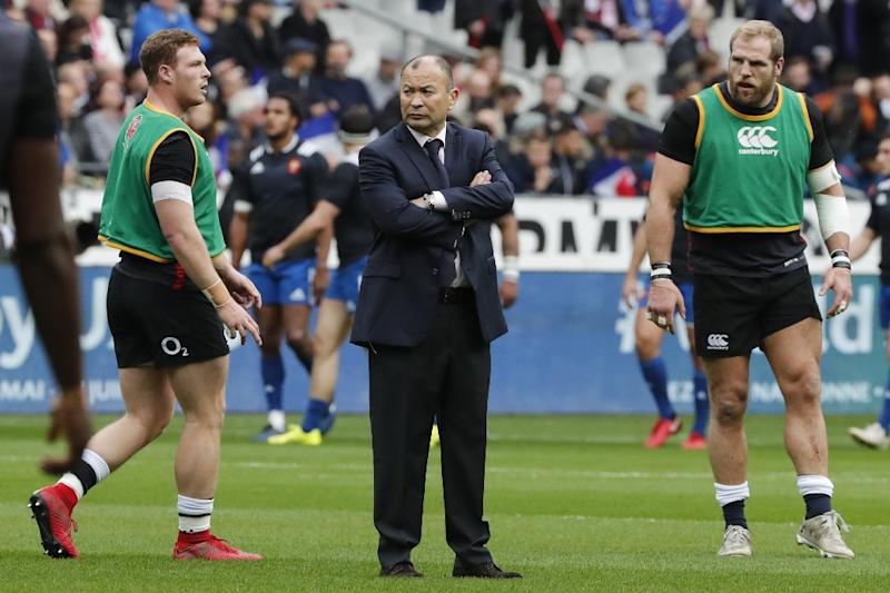 England head coach Eddie Jones (C) pictured prior to his side's Six Nations match against France at the Stade de France in Saint-Denis, north of Paris, on March 10, 2018