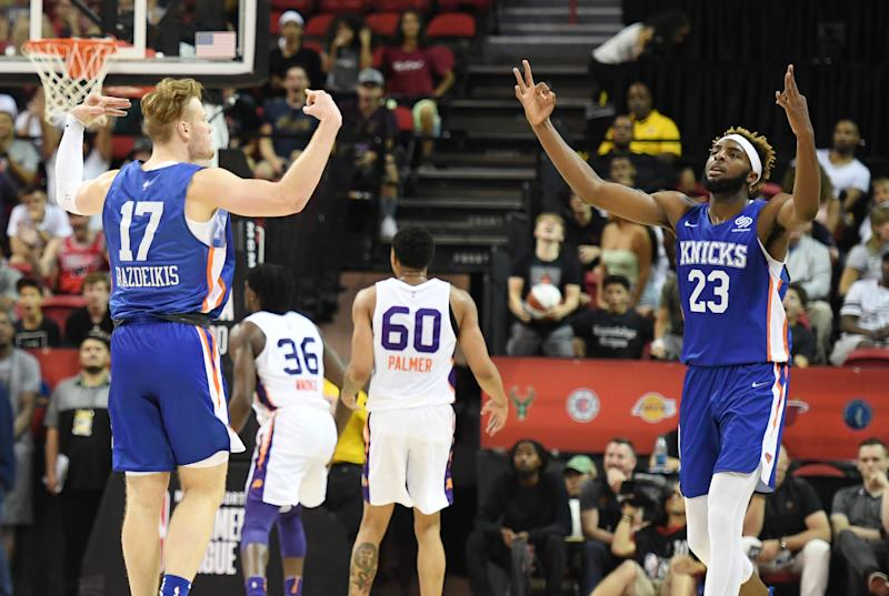 Ignas Brazdeikis #17 and Mitchell Robinson #23 of the New York Knicks celebrate. (Photo by Ethan Miller/Getty Images)