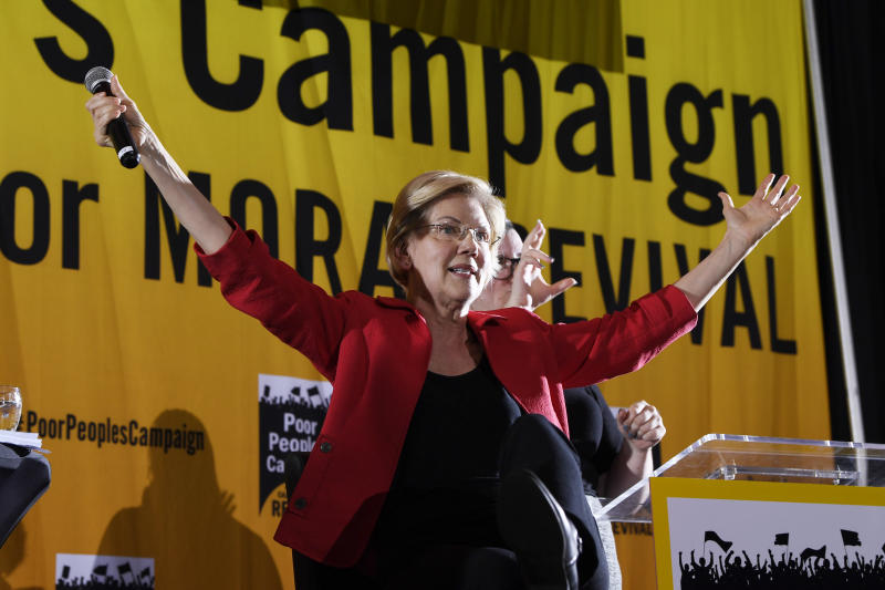 Democratic presidential candidate Sen. Elizabeth Warren, D-Mass., speaks at the Poor People's Moral Action Congress presidential forum in Washington, Monday, June 17, 2019. (AP Photo/Susan Walsh)