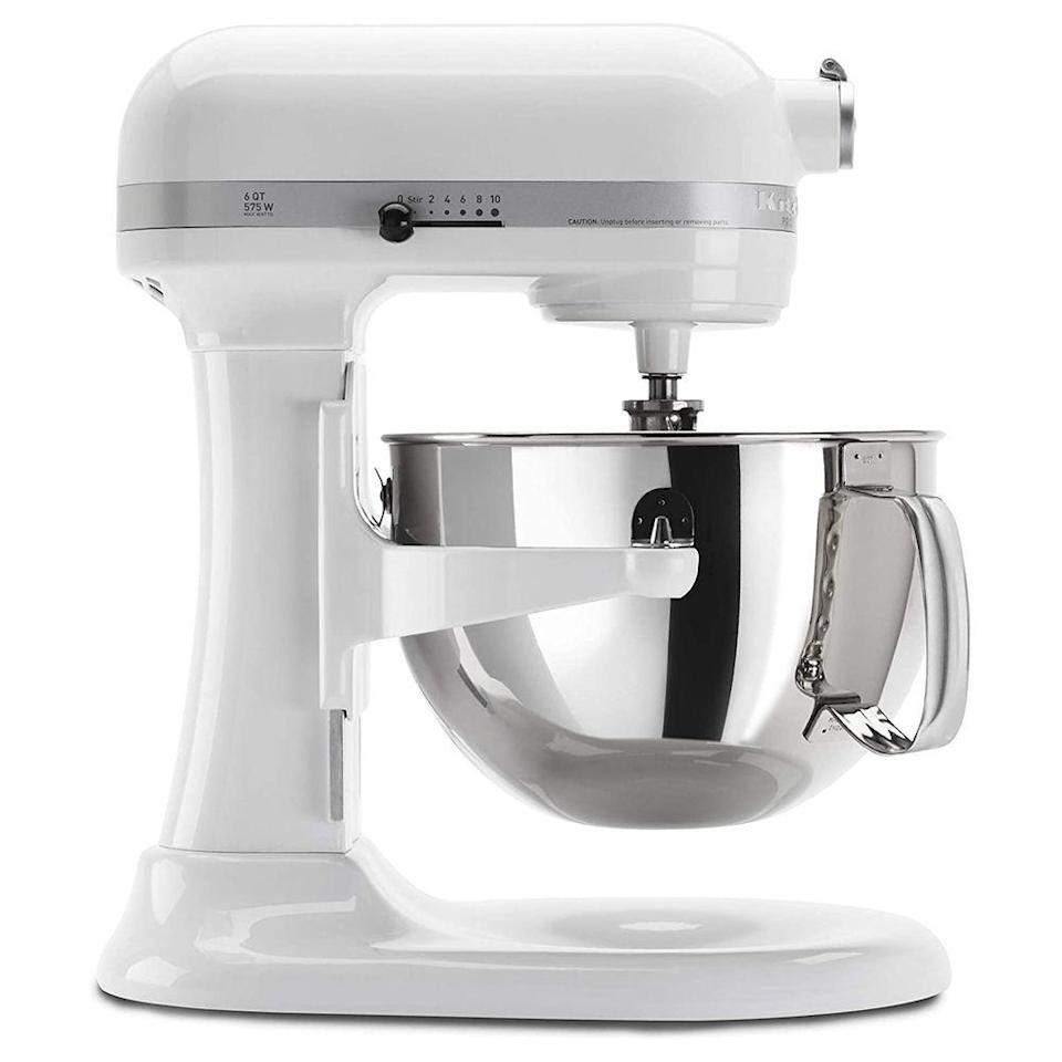 """<p><strong>KitchenAid</strong></p><p>amazon.com</p><p><strong>$549.95</strong></p><p><a href=""""https://www.amazon.com/KITCHENAID-KP26M1XVB-Professional-Mixers-Velvet/dp/B000P9EWYQ/?tag=syn-yahoo-20&ascsubtag=%5Bartid%7C10055.g.2224%5Bsrc%7Cyahoo-us"""" rel=""""nofollow noopener"""" target=""""_blank"""" data-ylk=""""slk:Shop Now"""" class=""""link rapid-noclick-resp"""">Shop Now</a></p><p>The KitchenAid Bowl Lift Professional 600 Series Stand Mixer is <strong>o</strong><strong>ne of the largest and most powerful mixers on the market,</strong> but its performance paled a bit next to the smaller (and more affordable) models in the KitchenAid mixer family. It was still a top performer in our test, however, and certainly worth considering if you bake in large quantities.</p>"""