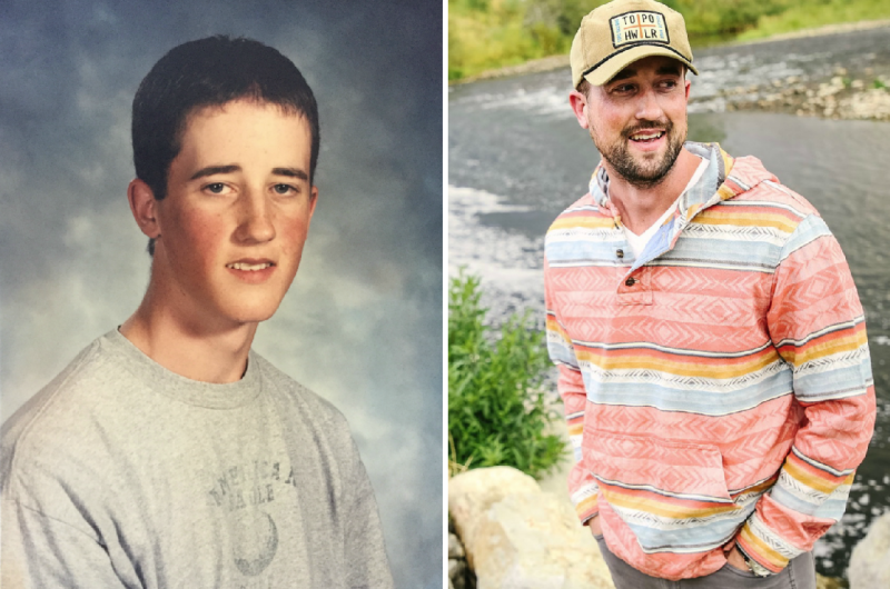 Left: Austin Eubanks' yearbook photo while at Columbine High School. <br />Right: Eubanks today. He runs an addiction treatment center in Colorado. (Austin Eubanks)