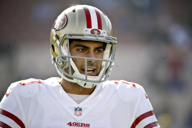 San Francisco 49ers quarterback Jimmy Garoppolo made NFL history with a $137.5 million deal. (AP)