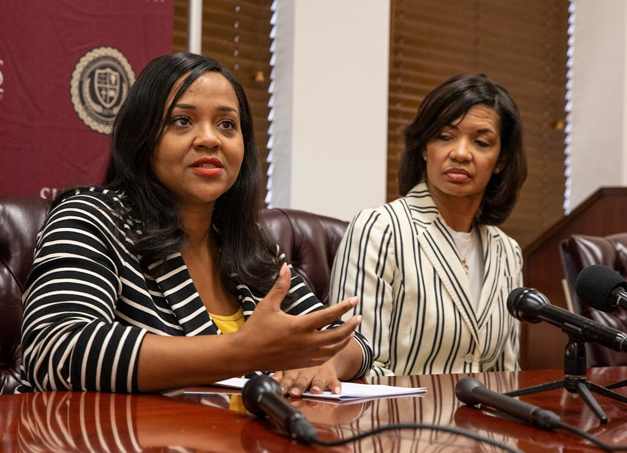 Krystal Goodner, left, Director of Public Relations for Simmons College and Von Purdy, right, Director of Development for the school discuss the controversy involving the scholarship money from the Papa Johns Pizza Corporation withdrew from the historically black school. Sept. 13, 2019