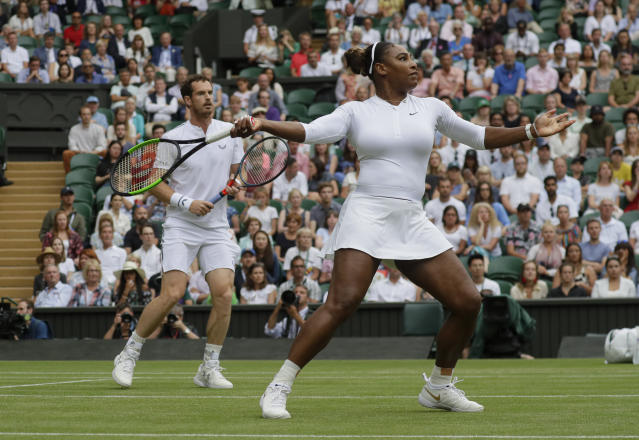 "<a class=""link rapid-noclick-resp"" href=""/olympics/rio-2016/a/1132744/"" data-ylk=""slk:Serena Williams"">Serena Williams</a> and <a class=""link rapid-noclick-resp"" href=""/olympics/rio-2016/a/1211276/"" data-ylk=""slk:Andy Murray"">Andy Murray</a> advanced in the mixed doubles draw at Wimbledon. (AP Photo/Kirsty Wigglesworth)"