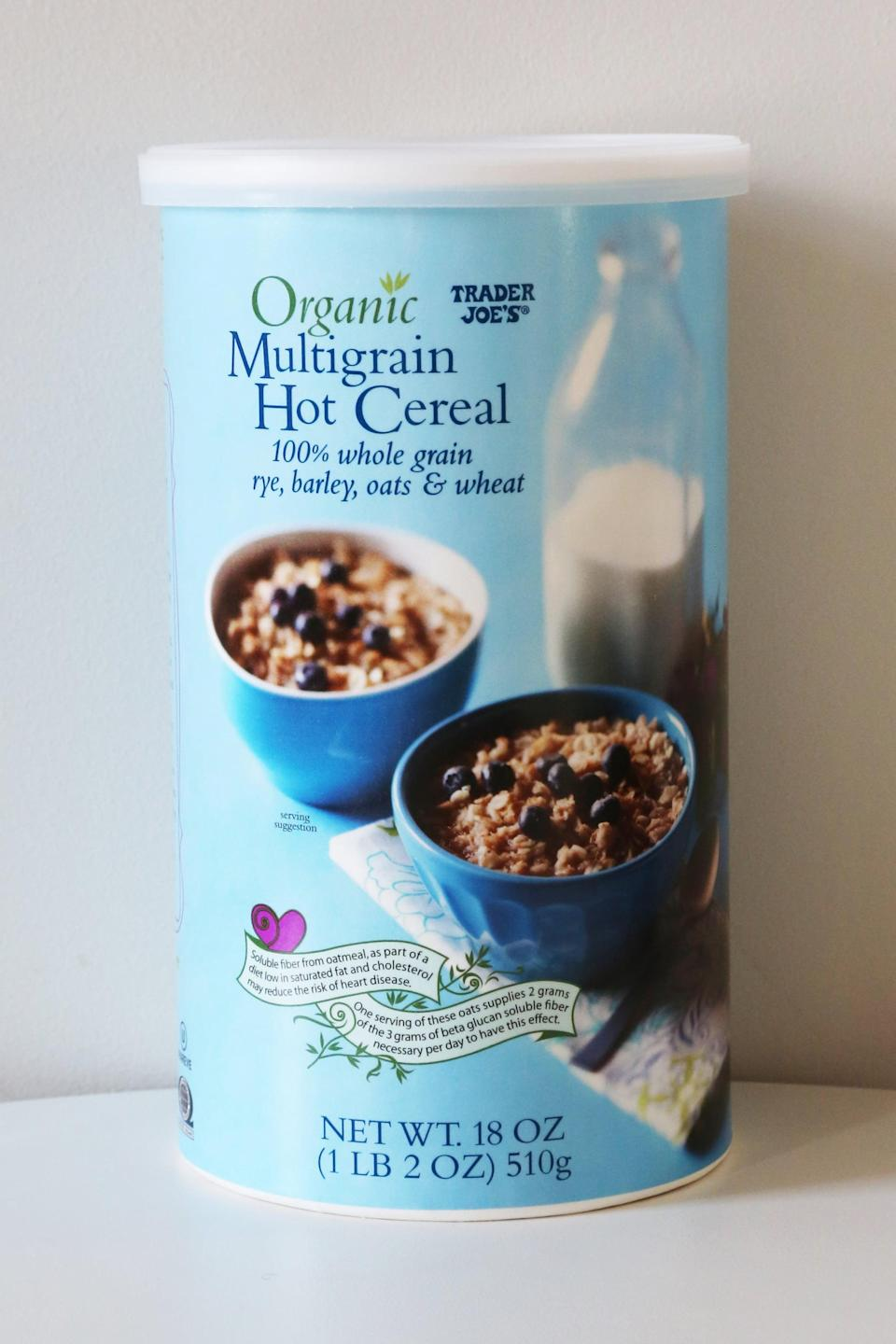 <p>Containing rye, barley, and oats, this hot cereal can be cooked on the stove or in the microwave. Top it with chia seeds, walnuts, and a little fruit for a yummy go-to weekday breakfast.</p>