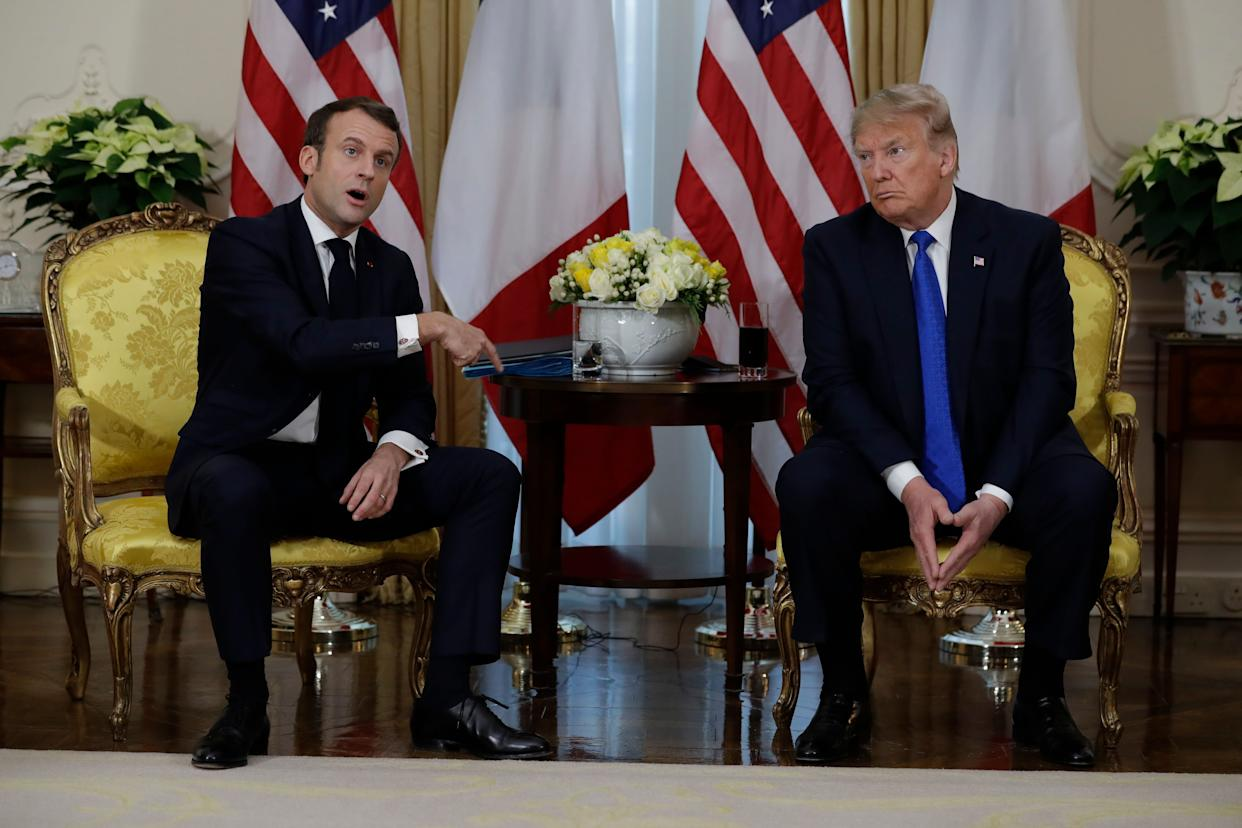 President Donald Trump meets French President Emmanuel Macron at Winfield House, Tuesday, Dec. 3, 2019, in London. (Photo: ASSOCIATED PRESS)