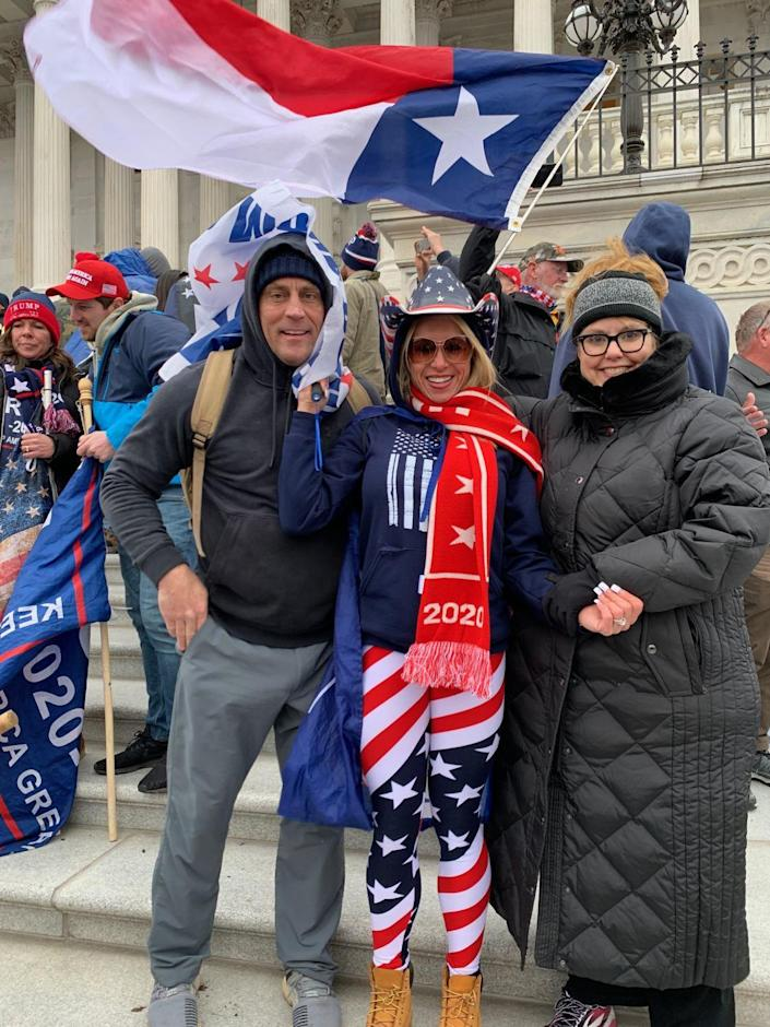 Diane Andrews, her husband and her friend at the U.S. Capitol on Jan. 6
