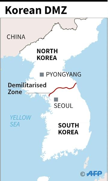 Despite its name, the DMZ separating the two Koreas is one of the world's most heavily militarised frontiers, bristling with watchtowers and landmines (AFP Photo/)