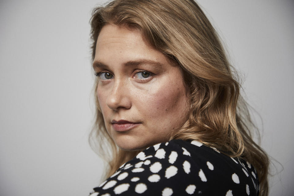 """This Sept. 9, 2019 photo shows actress Merritt Wever posing for a portrait in New York to promote her Netflix series """"Unbelievable."""" (Photo by Matt Licari/Invision/AP)"""