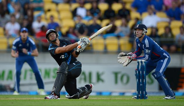 Ross Taylor of New Zealand bats during the third Twenty20 International match between New Zealand and England at Westpac Stadium on February 15, 2013 in Wellington, New Zealand.  (Photo by Gareth Copley/Getty Images)