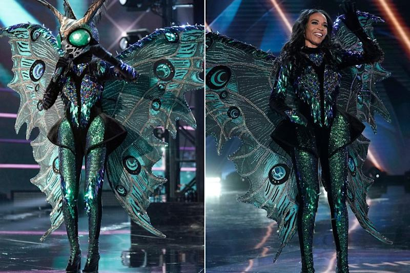 Michelle Williams as the Butterfly on The Masked Singer. | Michael Becker / FOX (2)