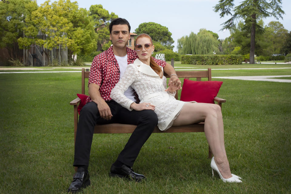 FILE - In this Sept, 4, 2021 file photo Oscar Isaac, left, and Jessica Chastain pose for portraits for the film 'Scenes from a Marriage' during the 78th edition of the Venice Film Festival in Venice, Italy. (Photo by Joel C Ryan/Invision/AP, File)