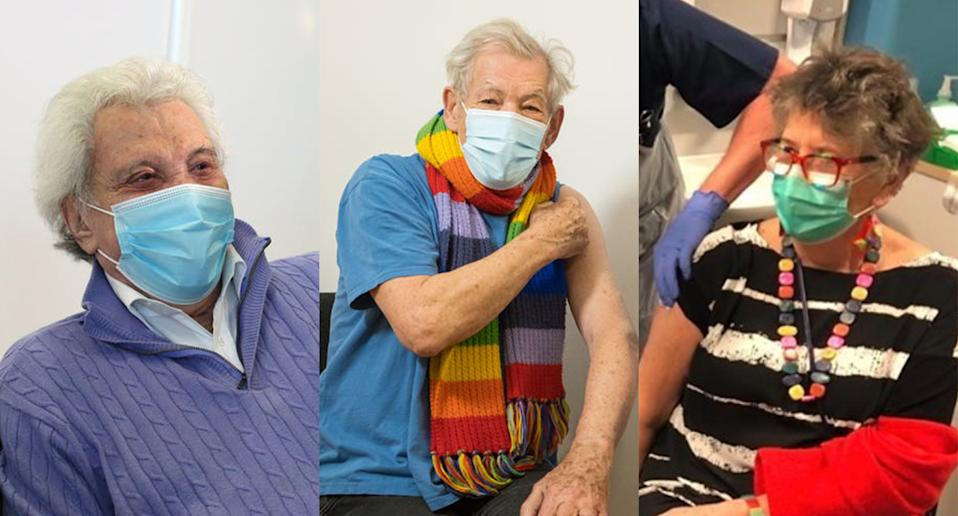 Lionel Blair, Sir Ian McKellen and Prue Leith are among the stars to have received a first dose of the vaccine. (PA. Jeff Moore/PA. Instagram/Prue Leith)