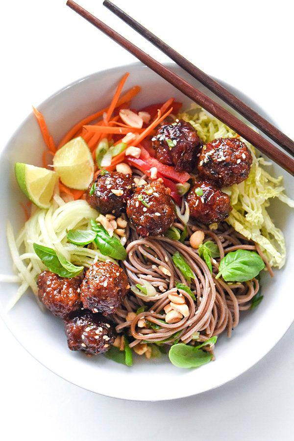 """<strong>Get the <a href=""""https://www.foodiecrush.com/soba-noodles-sriracha-meatballs/"""" target=""""_blank"""">Soba Noodles with Sriracha Meatballs recipe</a>fromFoodie Crush</strong>"""