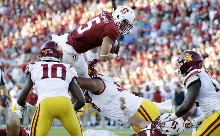 Christian McCaffrey amassed 238 yards rushing and receiving against USC. (Getty)